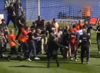 """Source image : Screenshot de la vidéo """"Ligue 1 – Le match Bastia-Lyon arrêté après des incidents"""" publiée par France 3 Corse ViaStella sur Youtube."""