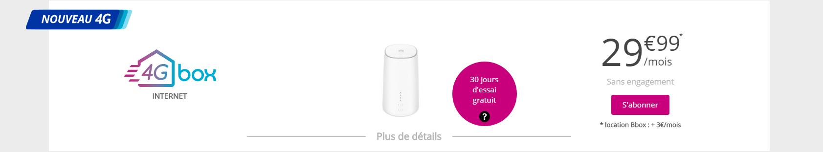 Résultat d'un test d'éligibilité 4G Box - Capture d'écran de www.bouyguestelecom.fr