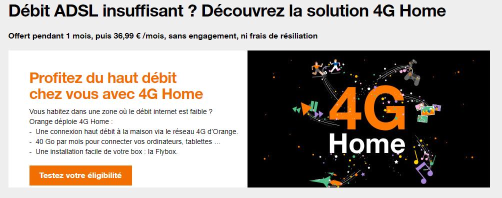 Page d'accueil de l'offre 4G Home - Capture d'écran de www.orange.fr