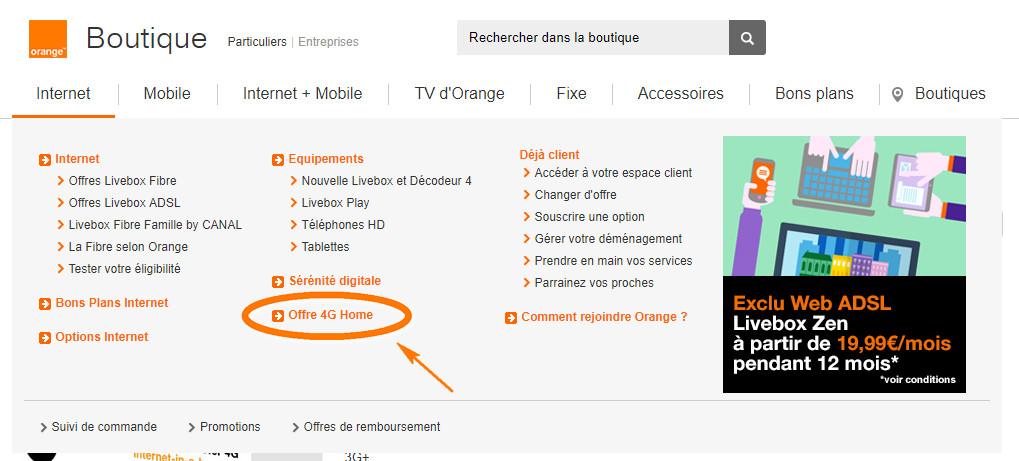 Menu de navigation de la catégorie Interne - Capture d'écran de www.orange.fr